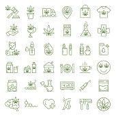 Cannabis icons. Set of medical marijuana icons. Drug consumption. Marijuana Legalization. Isolated vector illustration on white background.