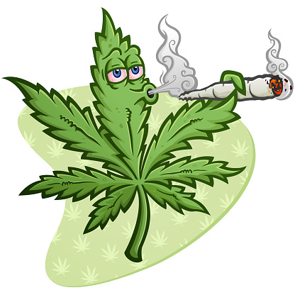 Marijuana Cartoon Character Smoking a Joint Blowing Smoke