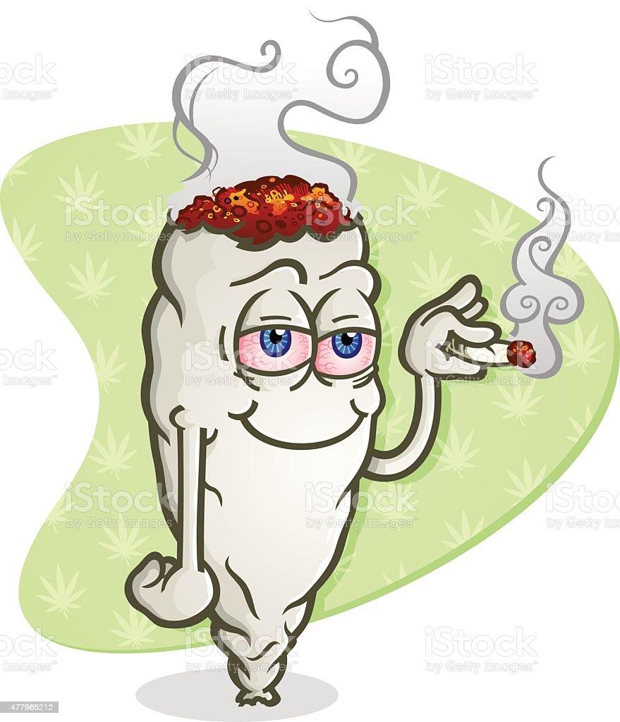 Marijuana Cartoon Character Smoking a Joint vector art illustration