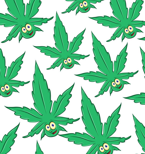 Marijuana cartoon pattern background vector art illustration