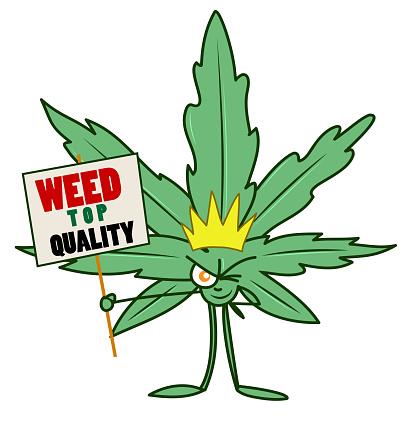 marijuana cartoon with advertising sign