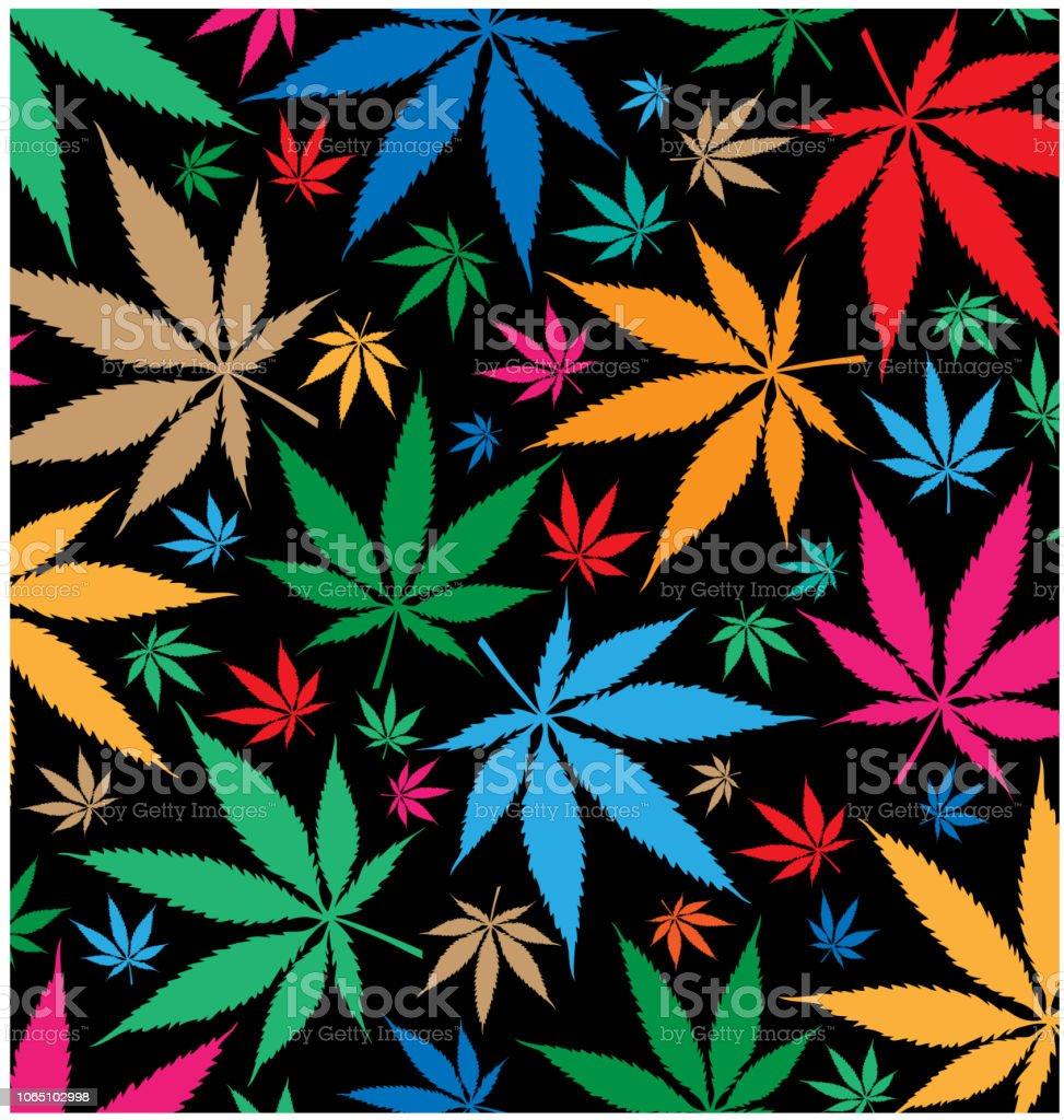 marijuana color pattern on black background vector art illustration