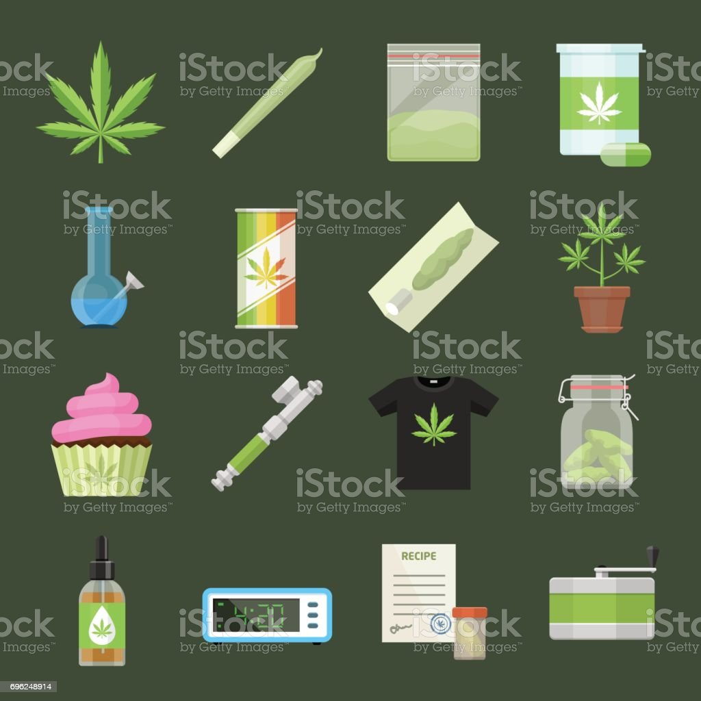 Marijuana equipment and accessories for smoking, storing and growing medical cannabis. Colorful ganja rastafarian vector icon set in cartoon flat style vector art illustration