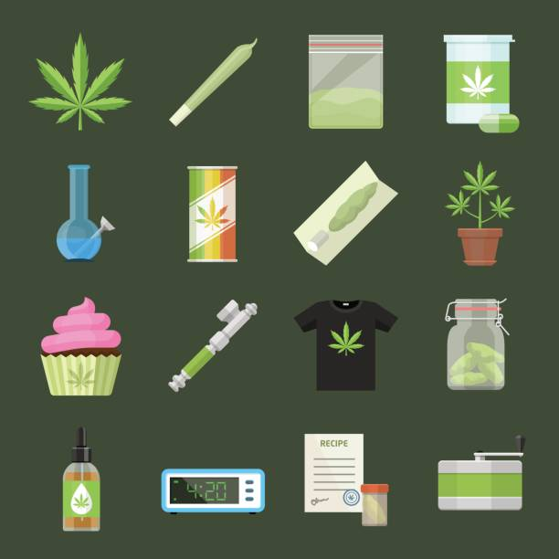 Marijuana equipment and accessories for smoking, storing and growing medical cannabis. Colorful ganja rastafarian vector icon set in cartoon flat style Marijuana equipment and accessories for smoking, storing and growing medical cannabis. Colorful ganja rastafarian vector icon set in cartoon flat style marijuana joint stock illustrations