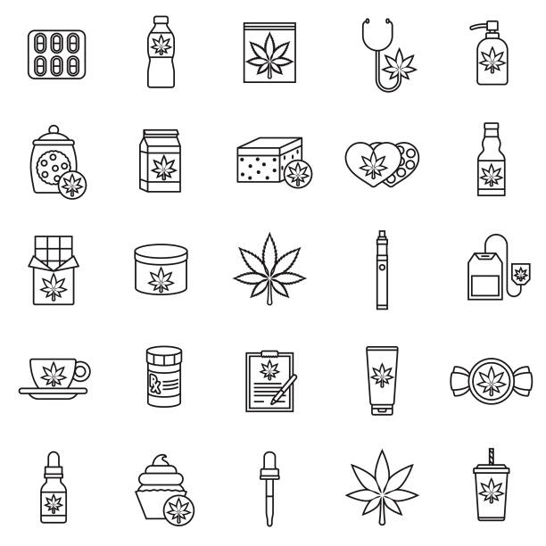 Marijuana Icon Set A set of icons. File is built in the CMYK color space for optimal printing. Color swatches are global so it's easy to edit and change the colors. marijuana stock illustrations