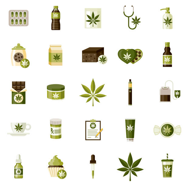 Marijuana Icon Set A set of icons. File is built in the CMYK color space for optimal printing. Color swatches are global so it's easy to edit and change the colors. candy clipart stock illustrations