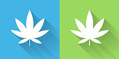 Marijuana Icon with Long Shadow. The icon is on Blue Green Background with Long Shadow. There are two background color variations included in this file. The icon is rendered in white color and the background is blue or green. There is also a 45 degree long shadow.
