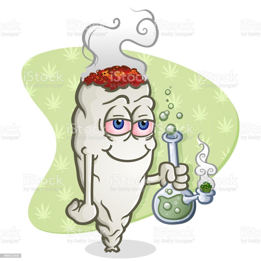 Marijuana Joint Cartoon Character Smoking a Bong vector art illustration