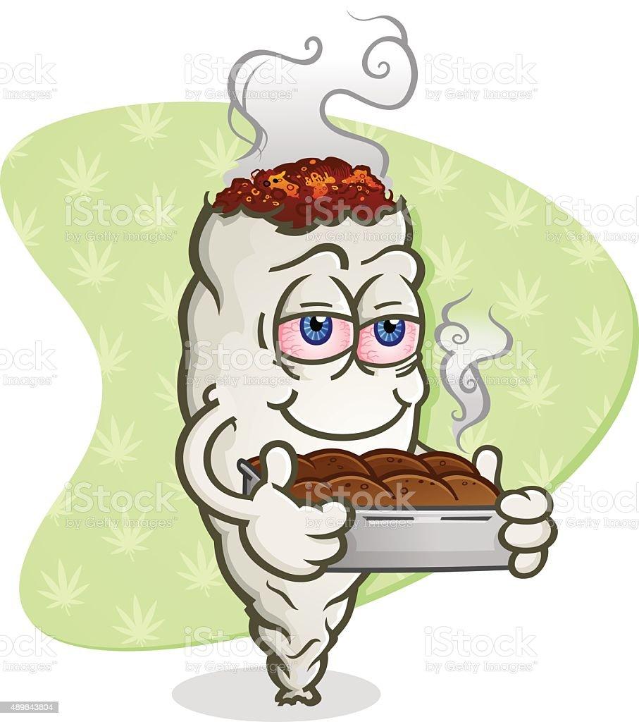 Marijuana Joint Cartoon Character with Pot Brownies vector art illustration