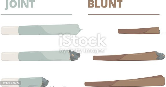 Marijuana joint. Drugs cigarette smoke cannabis weed vector illustrations in cartoon style. Cannabis weed joint, drug rolled to smoking, self-roll ganja