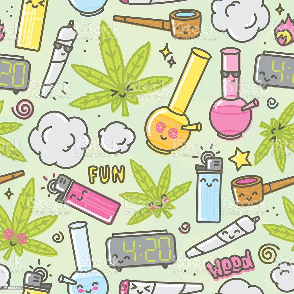 Marijuana kawaii cartoon seamless vector background vector art illustration