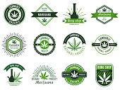 Marijuana label. Smoke weeds, cannabis joint and hashish or weed smoking device. Marijuana seeds, organic cannabis manufacturing logo. Vector illustration isolated symbols set