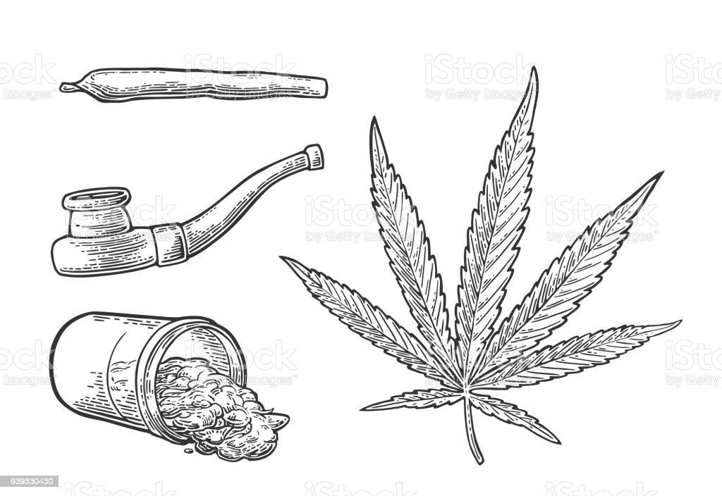 Ilustración De Hoja De Marihuana Botella Cigarrillos Y Pipa
