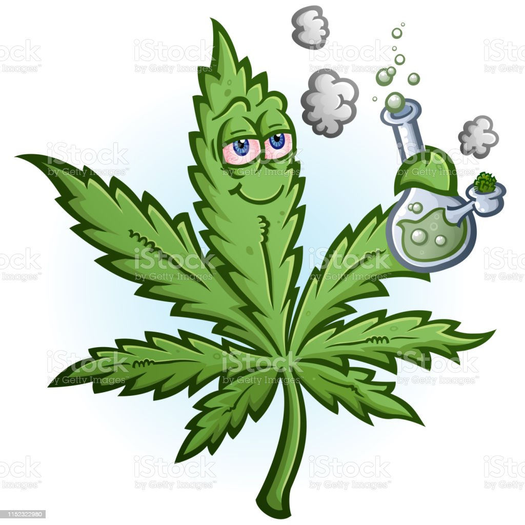 Marijuana Leaf Cartoon Character Smoking A Bong Stock Illustration Download Image Now Istock
