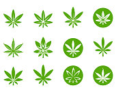 Marijuana leaf icon set , vector illustration