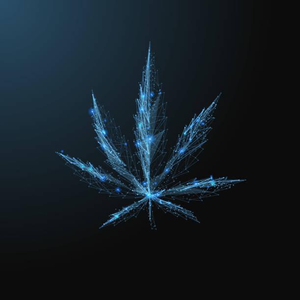Marihuana-Blatt-low-poly – Vektorgrafik