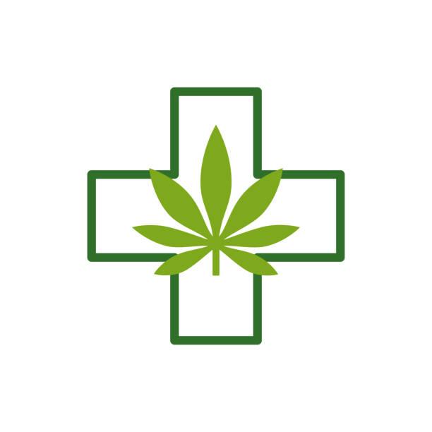 ilustrações, clipart, desenhos animados e ícones de folha de maconha com cruz verde. cannabis médica. molde do ícone. - assistente jurídico
