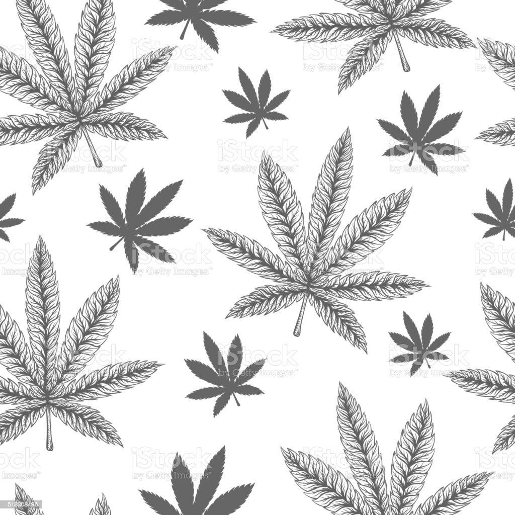 Marihuana Liście Gładki Wzór Stockowe Grafiki Wektorowe I