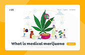 Marijuana Medicine Landing Page Template. Scientist Characters Growing Medical Cannabis Preparing Homeopathic Cannabis Recipe for Personal Use, Legal Light Drugs. Cartoon People Vector Illustration