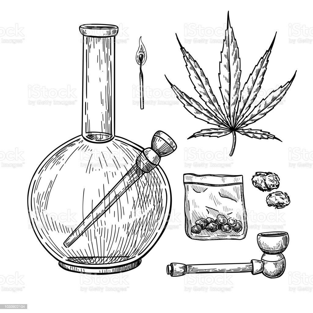 Marijuana or cannabis vector drawing set. Plant leaf, bong, pipe, buds in plastic bag sketch. vector art illustration