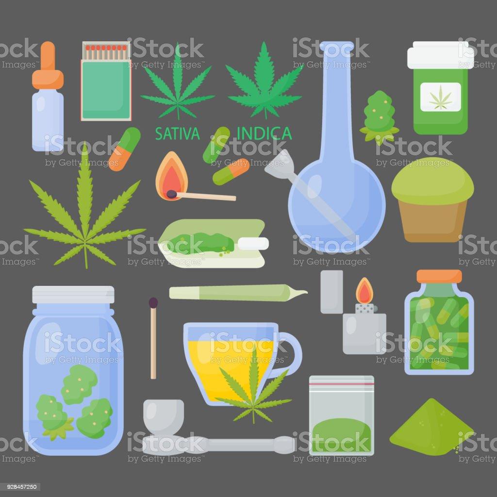 Marijuana or cannabis vector flat icon set vector art illustration