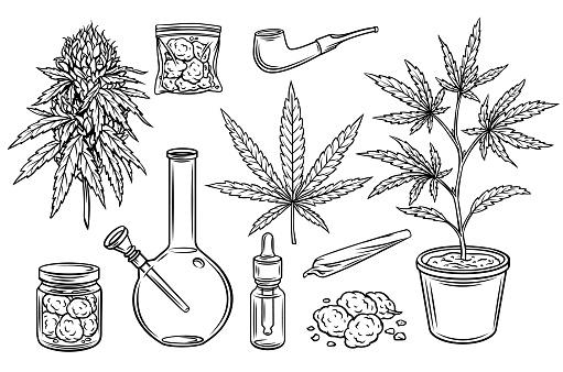 Marijuana outline icons set