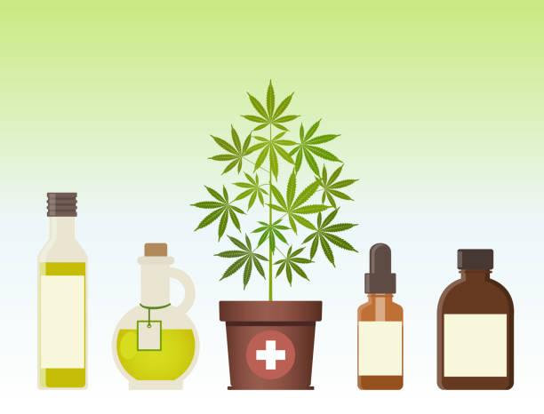 stockillustraties, clipart, cartoons en iconen met marihuana plant en cannabis olie. medische marihuana. - oil