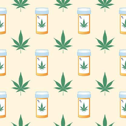 Marijuana Prescription Seamless Pattern