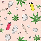 Marijuana seamless vector pattern
