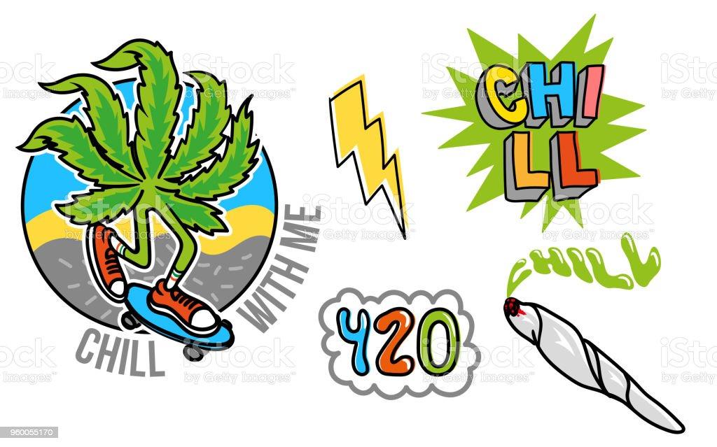 Marijuana set sticker vector art illustration