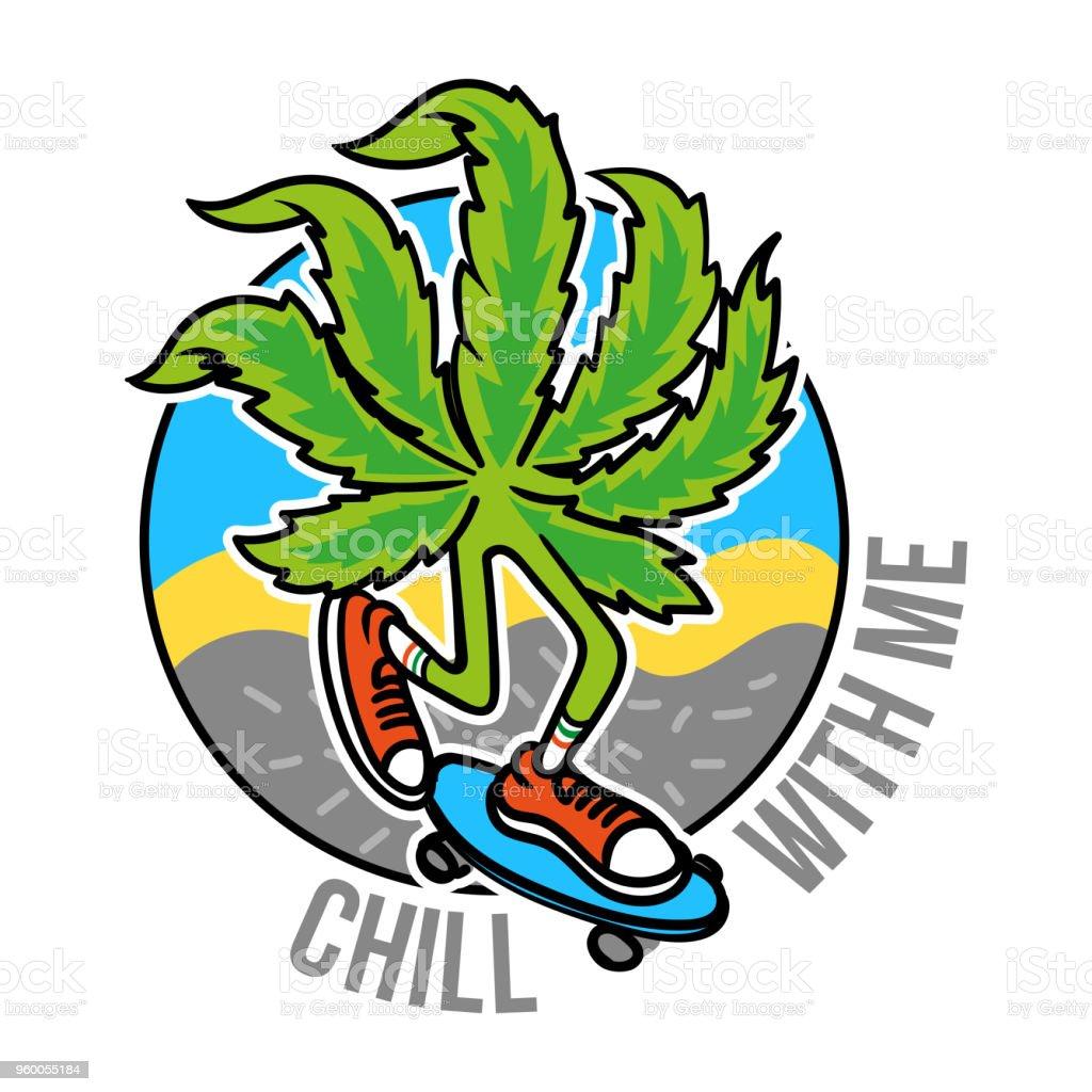 Marijuana skater vector art illustration