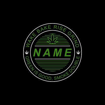 Marijuana T-Shirt Badge Logo Template