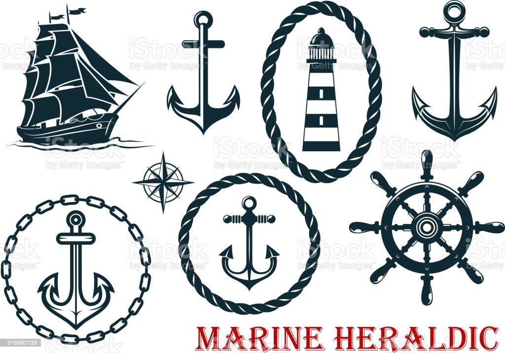 Marine and nautical heraldic elements vector art illustration