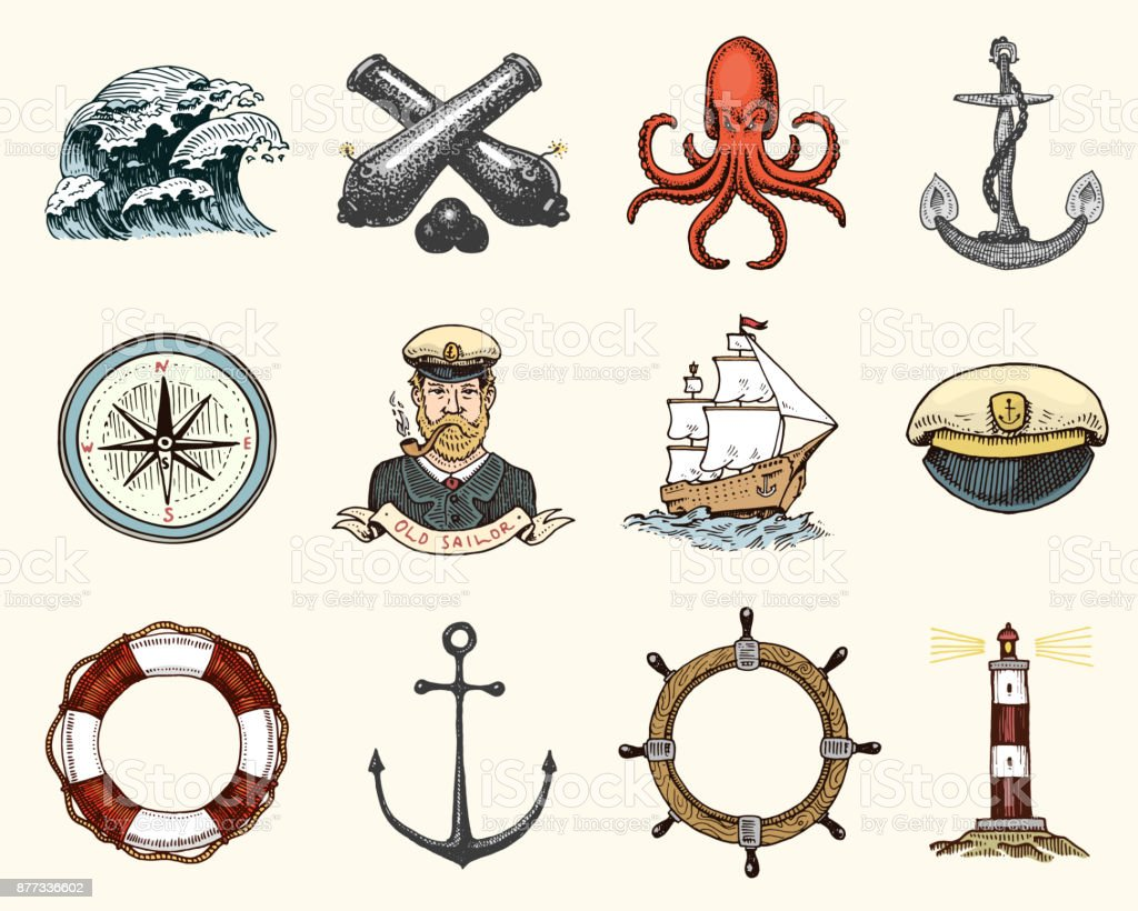 Marine and nautical or sea, ocean emblems. set of engraved vintage, hand drawn, old, labels or badges for a life ring, a cannon ball, a captain with a pipe. welcome aboard, two anchors, sailor vector art illustration