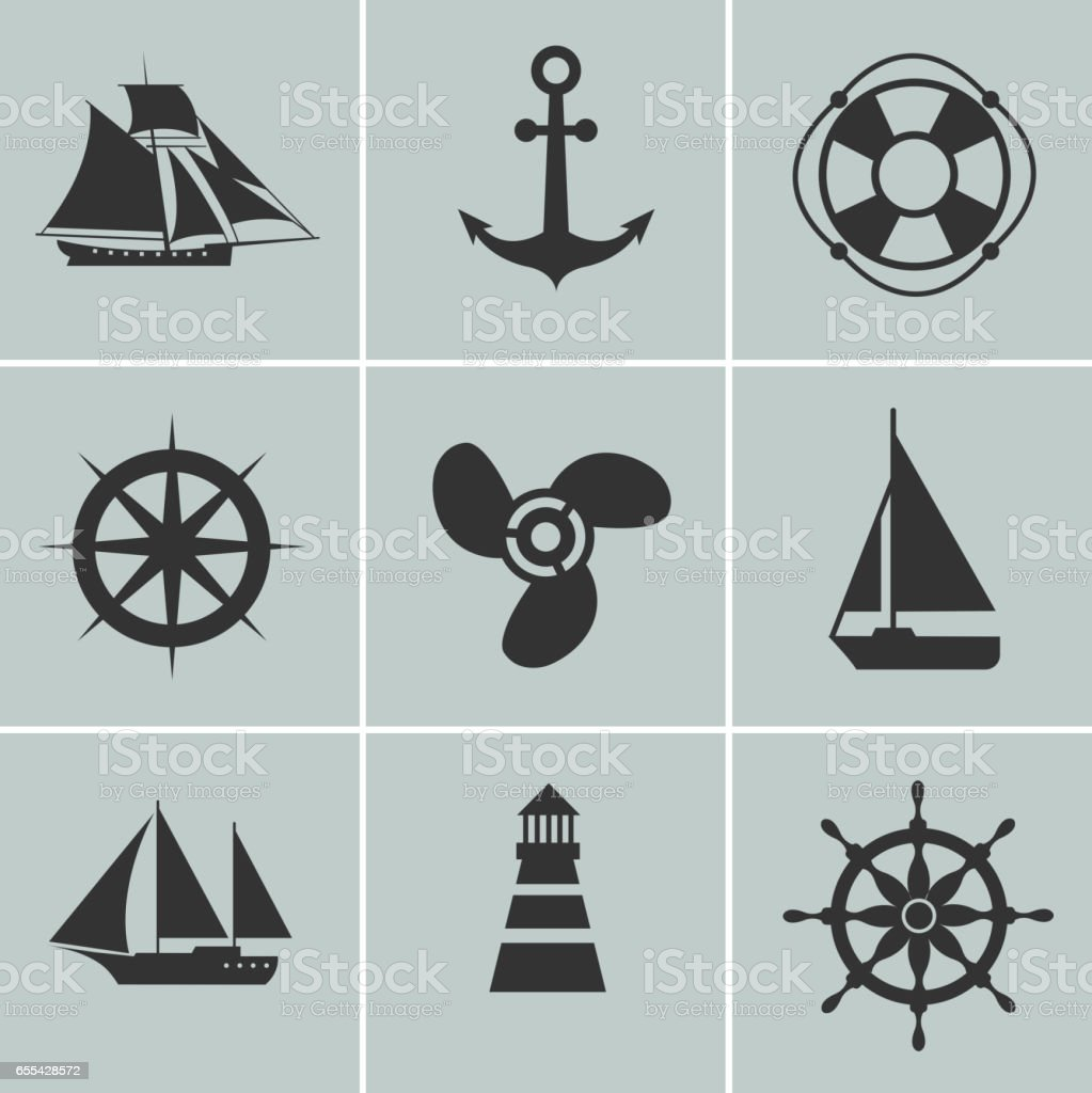 Marine and shipping icons. Boat, ship or yacht, anchor life buoy vector silhouette signs vector art illustration