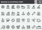 Marine and Shipping Port Line Icons