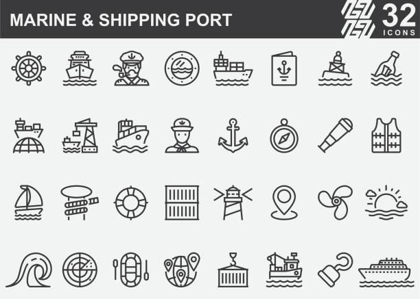 ilustrações de stock, clip art, desenhos animados e ícones de marine and shipping port line icons - porto