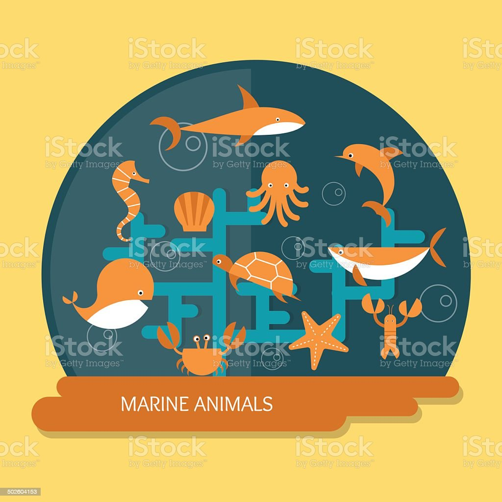 Locally Protected Marine Species Some: Marine Animals Protection And Conservation Stock Vector