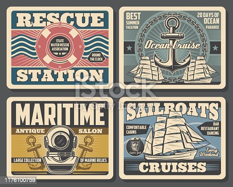 Nautical vintage posters, marine adventure and water swimmer rescue station. Vector marine relics antique salon, sailboat ocean cruises and summer vacations, aqualung with ship anchor and lifebuoy
