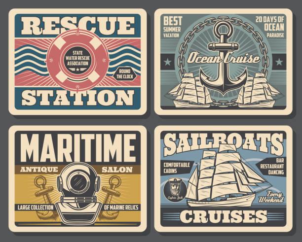 ilustrações de stock, clip art, desenhos animados e ícones de marine antique salon, sailboat ocean cruises - sextante