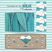 marine banner collection. hand drawn sea waves decoration. cute cartoon style