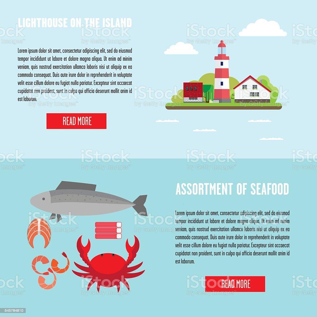 Marine banners vector art illustration