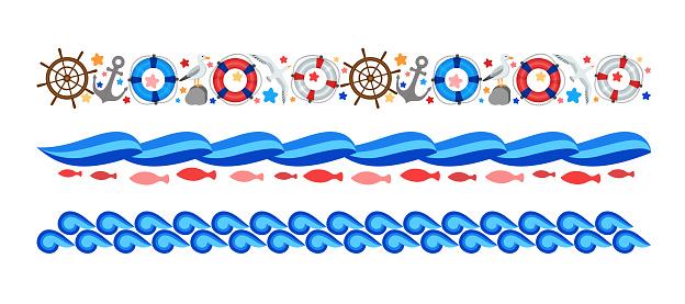Marine borders set. Horizontal bars design. Nautical cartoon clip art.