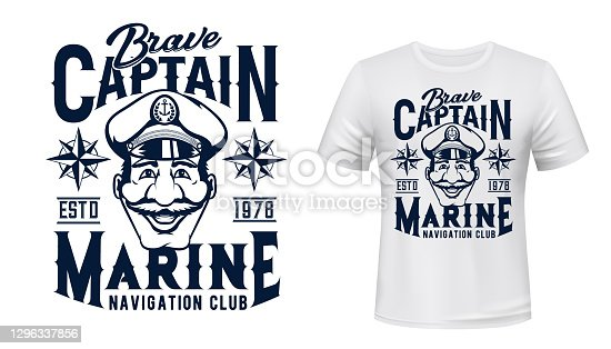 Marine captain t-shirt vector print template