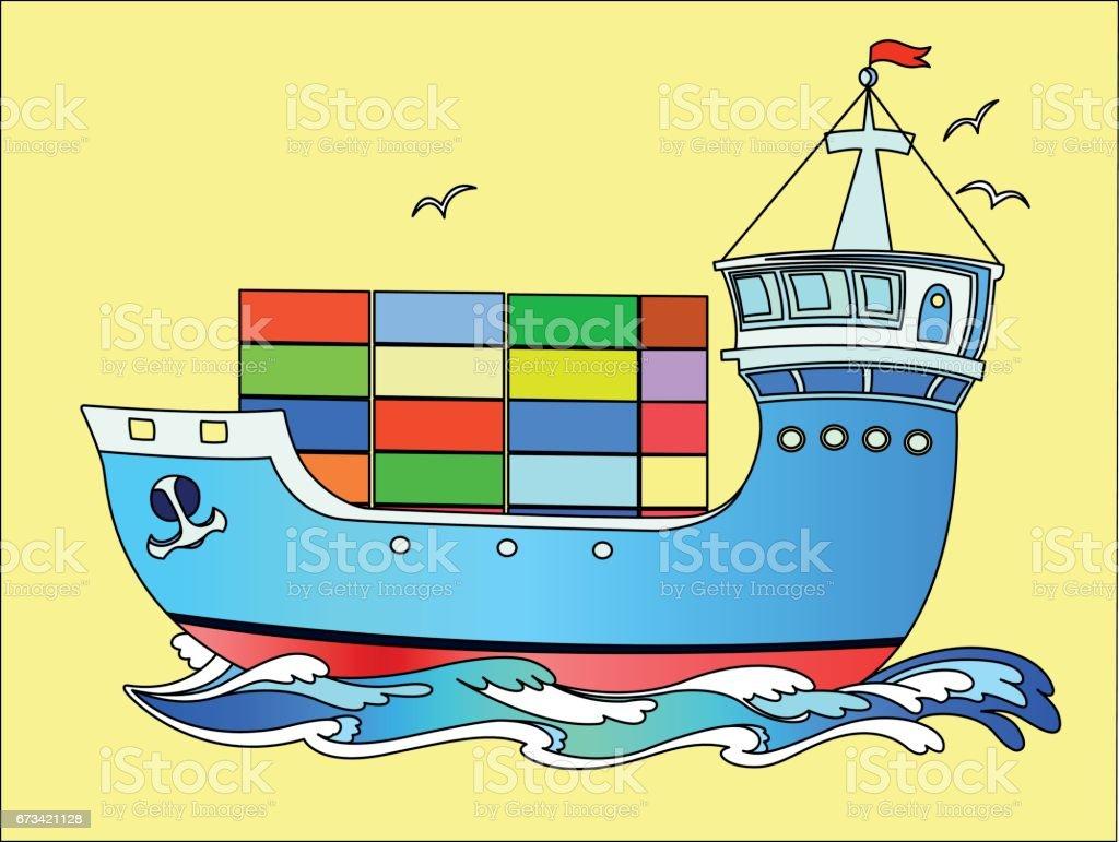 Marine cargo ship sailing on the waves of the sea. vector art illustration