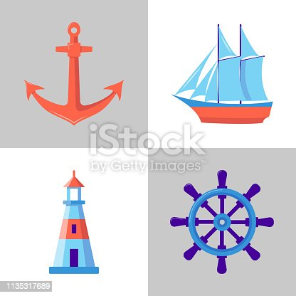 Ocean collection of icons in flat style. Marine symbols set including anchor, lighthouse, ship and steering wheel. Sea travel concept elements.