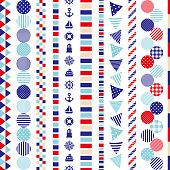 Set of marine decoration: dot, border, stripe, wave.