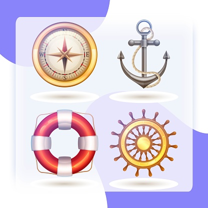 Marine decorative icons symbols set with anchor lifebuoy compass and steering wheel isolated vector