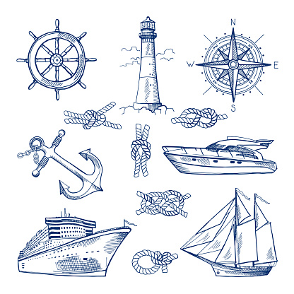 Marine doodles set with ships, boats and nautical anchors. Vector illustrations in hand drawn style