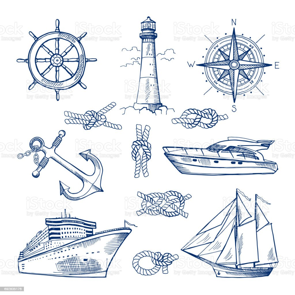 Marine doodles set with ships, boats and nautical anchors. Vector illustrations in hand drawn style vector art illustration